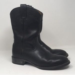 Ariat Cowboy Boots Mid Calf Black Leather Size 8